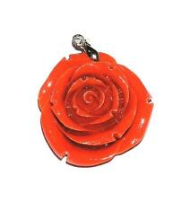 """PENDANT/NECKLACE Coral Pink Color Flower 1 3/8"""" Wide CARVED ROSE"""