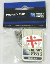 33655 RUGBY WORLD CUP 2011 GEORGIA SILVER JERSEY FLAG KEYRING KEY RING