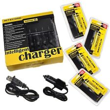 NEW NITECORE i4 V2 Intellicharge Charger w/ Four 3100mAh 18650 NL188 Batteries