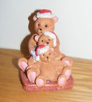 Bears Wearing Santa Hats Decorative Holiday Figure