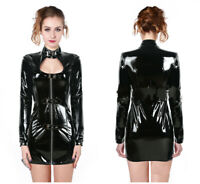 PVC Punk wrap hip Dress Lacquer Leather Long Sleeves Skirt zipper Tight Costume