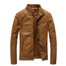 Moda Hombre Abrigos de Cuero de la motocicleta Slim Fit Juventud cremallera abrigo chaquetas Biker