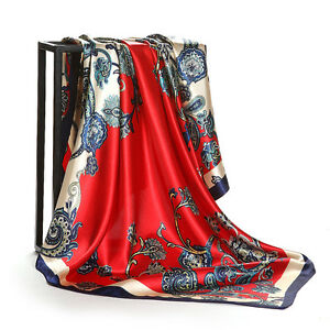 "Women's Fashion Soft Satin Paisley Print Square Scarf Wrap Shawl Stole 35""*35"""