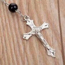 Catholic Virgin Mary Black Crystal Bead Women Silver Rosary Necklace Chain Black