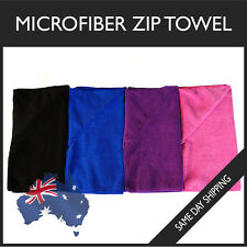 Microfiber Zip Towel GYM SPORT FOOTY TRAVEL CAMPING SWIMMING HIKING MICROFIBRE