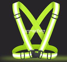 Hi-Vis Outdoor Safety Chaleco Neon Reflective Vest Elastic Belt Adjustable Band