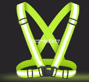 Hi-Vis Outdoor Safety Chaleco Neon Reflective Vest Elastic Belt Adjustable Band