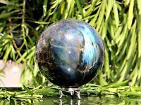 120MM Flashy Green Spectrolite Quartz Crystal Stone Chakra Healing Reiki Sphere