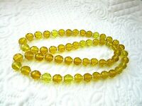 """Vintage 28"""" Facet Cut Crystal Round Bead Necklace"""