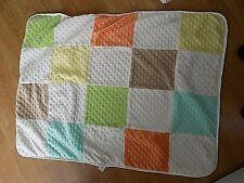 Just Born  Apricot, Lemon Yellow, Lime Green Baby Blanket Minky Dot Color Block