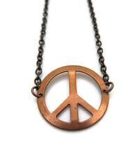Vintage Copper Peace Sign Charm Pendant Chain Choker Necklace