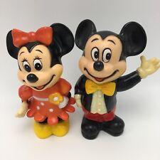 Vintage 1960's Mickey & Minnie Mouse Walt Disney Productions Plastic Banks Korea