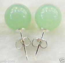 10mm Natural Light Green Jade Round Beads 925 Silver Stud Earrings