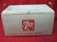 Vintage 1950's 7UP Aluminum Cooler With Drop Handles and Drain Plug