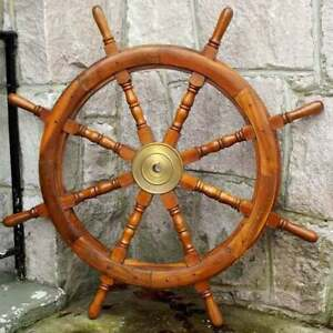 36'' Wall Hanging Handmade Carved Steering navy Captain Pirate Boat Ship's Wheel