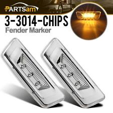 2x For Kenworth/Peterbilt Amber Clear Fender Side Marker Clearance Light 3-SMD