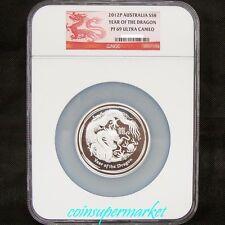 2012 Australia Lunar Year Of Dragon 5oz Silver Proof Coin NGC PF 69 UC!COA & Box