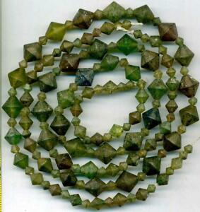 """Roman Ancient Green Brown Glass Beads 4-10mm Bicone Shapes 17"""" TWO Strands"""