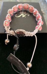 Joseph Nogucci Bracelet pink Silver Bead White String Square Knot Adjustable