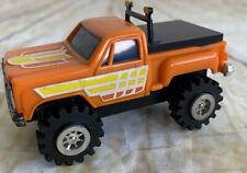 Vintage Battery Operated Orange Stepside Truck Stomper Type Toy Hong Kong