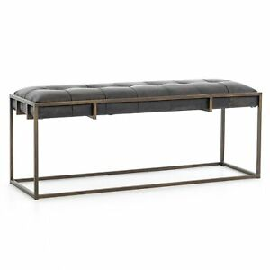 "43.25"" Fabiana Bench Ottoman Top grain Leather Iron Rialto Ebony Antique Brass"