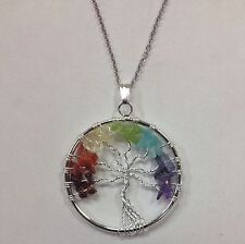 Tree of Life Pendant, Chakra gemstones, on 24 in chain FREE SHIPPING