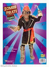 Zombie Pirate Mascot Costume 7 Pc Latex Mask Boots Pistol Hand Hook Coat & Sash