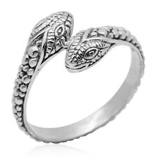 SNAKE BYPASS STACK STACKABLE RING STERLING SILVER SIZE 6 2 HEADED RING BOLLYWOOD