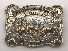 1972 Sterling Silver Dixie Cutting Horse Rodeo Belt Buckle by Nelson Silvia--94g