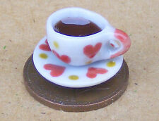 1:12 Scale Tea In A Heart Motif Ceramic Cup & Saucer Dolls House Accessory T2