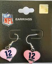 SEATTLE SEAHAWKS Football PINK 12th MAN Color Heart Charm NFL Dangle Earrings
