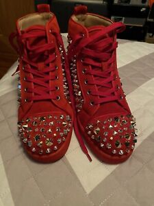 christian louboutin brand new pik pik spikes red suade size 42