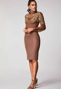 Virgos Lounge Brown Embellished Princess Long Sleeve Pussy Bow Party Dress 12