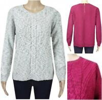 New Ex M&S Per Una Ladies Grey or Berry Thick Knit Casual Jumper Size 8 - 24