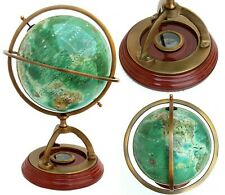 Nautical Antique Brass World Globe 14'' Tall Collectible Tabletop with Compass