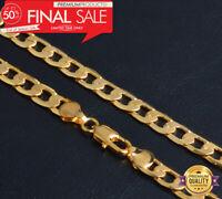 Goldkette 8MM breit 50cm lang Männer Panzerkette vergoldet Herren Damen Hip Hop