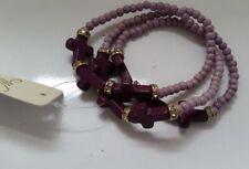 Christian Purple Lavender multi-layer small beads Cross stretch Bracelet N0-8/22