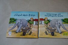 Pixi Buch Nr. 1532: Tierpflegerin Greta und  identisches Pixi  in arabisch