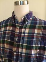 LL Bean Men's Flannel Long Sleeve L/S Shirt 1 Pocket XL Plaid Vintage - C Detail
