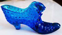 Fenton Art Glass Cobalt Blue CAT HEAD Hobnail Shoe Slipper Boot, MINT!