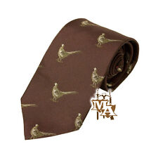 Burgundy Pheasant Tie By Bisley Silk 100% - Shooting Clothing Hunting Country