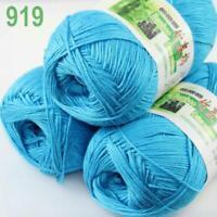 Lot of 3Balls 50g Natural Bamboo Cotton Knitting Scarf Wrap Yarn 919 Turquoise