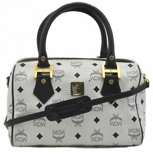 Authentic MCM Visetos Leather Vintage 2Way Shoulder Hand Boston Bag White D8242