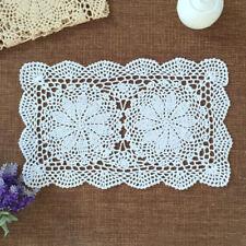 Handmade Crochet Doilies Placemat Rectangle Cotton Lace Doily Table Cover Mat