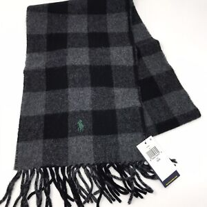Polo Ralph Lauren Men Black Gray Check Plaid Reversible Wool Blend Scarf