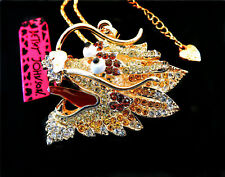 Betsey Johnson White Crystal Dragon Gold Pendant Chain Necklace Free Gift Bag