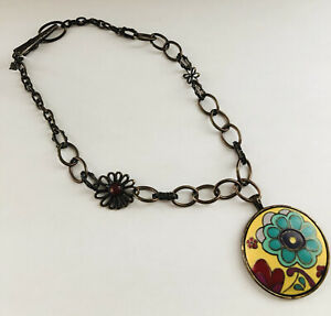 Signed LUCKY BRAND Brass Yellow Turquoise Flower Power Pendant Clip Necklace