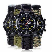 Survival Watch Bracelet Paracord Compass Flint Fire Starter Whistle Outdoor US