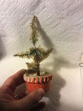 Antique Paper Christmas Tree In Pot Putz Nativity Decoration