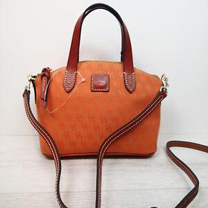 Dooney & Bourke Ruby mini Satchel Crossbody Bag Rust Brown leather trim $158  a5